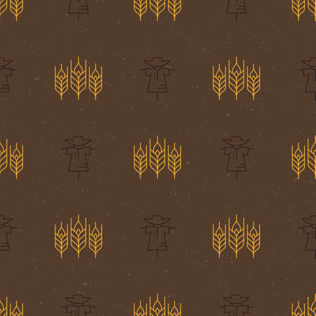 grain fields: Vector seamless pattern with wheat. Modern agricultural texture with elements made in line style.