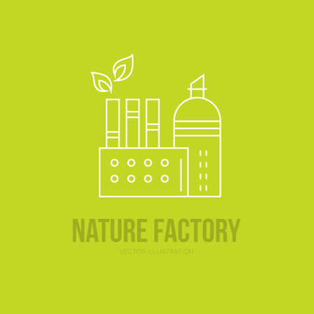 clipart chimney: Green energy concept - factory building with leaf. Green production logo.