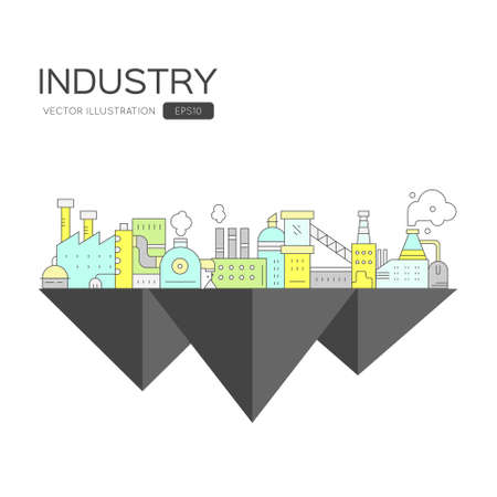 industrial industry: Industrial concept - island with different factory buildings. Industry and manufacturing. Illustration