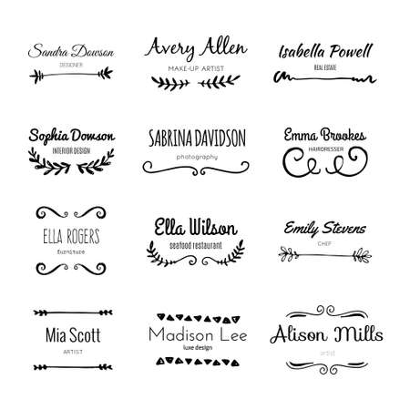sketched shapes: Unique handdrawn logo template collection. Abstract hand sketched shapes for branding design. Real ink texture. Illustration