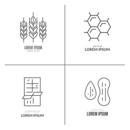 intolerancia: logotipos alergia a los alimentos hechos en vector. la intolerancia etiquetas de los alimentos para restaurantes, mercados agr�colas y men�. ilustraci�n de dieta especial.