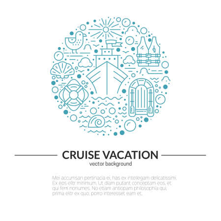 lifeboat: Circle design element with different cruise vacation icons - lifeboat, cruise ship, lifebuoy, seagull. Isolated vector design element made in trendy lifestyle. Summer adventure concept.
