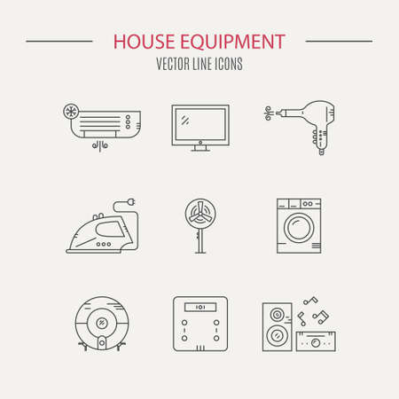 air condition: Collection of modern line style vector house gear - kitchen appliances and house technology. Music station, scales, iron.