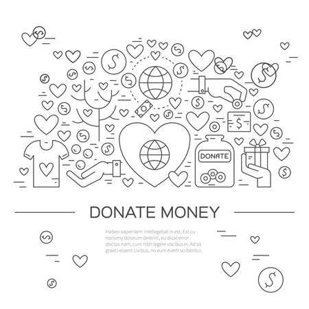 charity work: Card or poster template with charity and fundraising objects. Volunteer poster. Funsraising event card template. Vector illustration with place for your text. Illustration