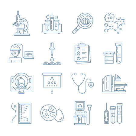 Vecor icons with medical check-up and diagnostic process - xray, MRI, blood testing, microscope and other medical gear. Line vector illustrations of medical diagnostic process.