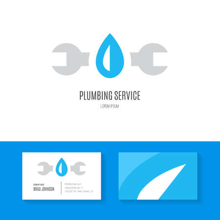 plumb: Business identity collection with business card and logo made in modern flat style vector for plumbing company or handyman. Illustration