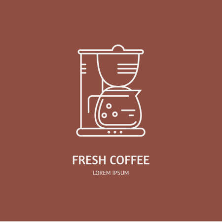 machine made: Single logo with graphic illustration of a coffee machine made in line style vector. Clean and modern label for a shop, product or company.