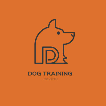 dog walker: Single logo with a dog for veterinarian clinic, pet shop, dog walker, dog training. Easy to use and edit. Vector logo series.