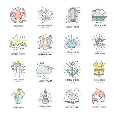 lifeboat: Cruise vacation icons made in trendy line style vector. Summer adventure emblem. Marine symbols. Nautical design elements isolated on background. Labels for maritime company or cruise ship.