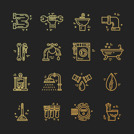 refit: Plumbing and handyman service symbols made in line style vector. Vector collection of plumbing icons. Modern illistrations of pipe, leak, faucet fixing and other repair services. Illustration