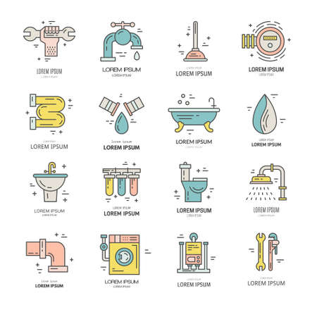 refit: Collection of line style plumbing icons. House repair services. Illustration