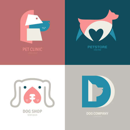 dog walker: Set of logotypes with dogs. Dog logo collection. Logotype for vet clinic, pet shop, dog training or dog shelter. Set of dog related logo designs. Editable design element for your company. Vector logo template.