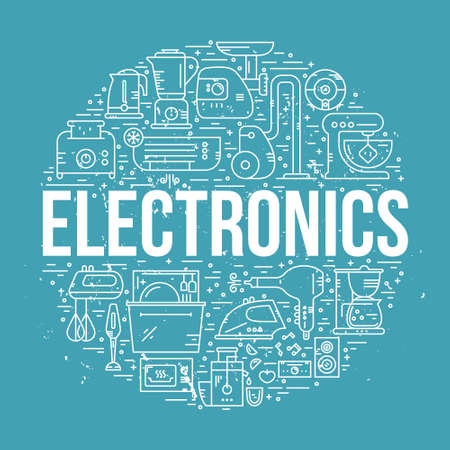 electronic music: House appliances and electronics arranged in a circle with sign electronics. Vector line design element for banner. poster, home gear shop.