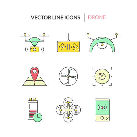 pictogramm: Drone vector icons. Technology and innovation symbols. Modern vehicles for photography, delivery and military purposes. Illustration
