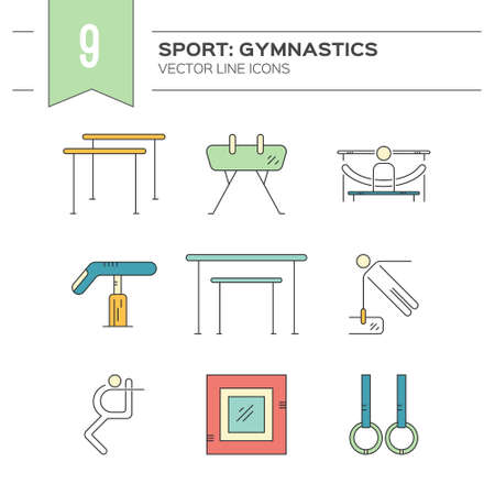 exersice: Artistic gymnastics icon collection made in modern linear vector style. Summer games and sports modern vector series. Great set of line style symbols.