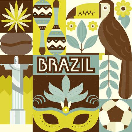 cristo: Vector illustration with Brazil symbols. Modern flat style vector illustration. Perfect design for banner, poster or apparel design. Illustration