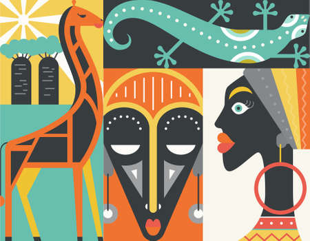 earing: Graphical illustration of african symbols made in flat style vector. Welcome to Africa concept. Illustration
