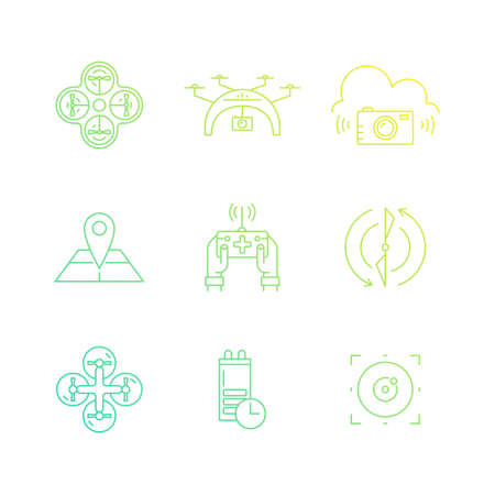 pictogramm: Modern vector set of icons with drones. Technology and innovation symbols. Modern vehicles for photography, delivery and military purposes. Drone vector icons.