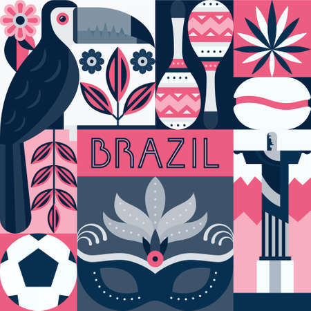 cristo: Vector illustration with Brazil symbols. Unique illustration with brazilian birds, landmarks, musical instruments. Flat style vector collection.
