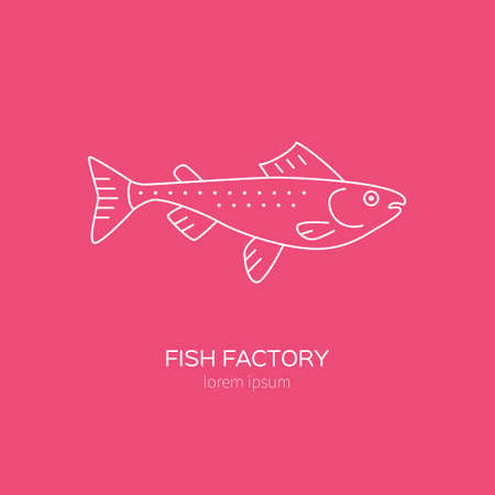 graphic icon: Clean and simple illustration of a salmon. Vector line style element. Fishing concept or restaurant menu label. Illustration