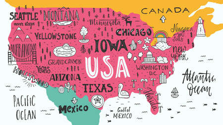 cartoon road: Handdrawn illustration of USA map with hand lettering names of states and tourist attractions. Travel to USA concept. American symbols on the map. Creative design element for tourist banner, apparel design, road trip event design. Illustration