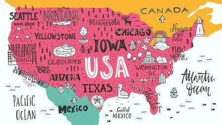 turista: illustrazione Handdrawn di Stati Uniti d'America mappa con i nomi mano lettering di stati e attrazioni turistiche. Viaggio a concetto USA. simboli americani sulla mappa. elemento di design creativo per banner turista, abbigliamento progettazione, viaggio su strada progettazione di eventi. Vettoriali