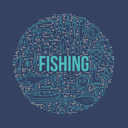 fishing net: Fishing clipart element with a sign. Modern style vector illustration with different fishing gear including boat, rod, tackle, bobber.