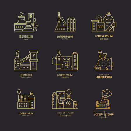 line vector: Collection of different factory. Industrial for your business. Vector line style art. Illustration