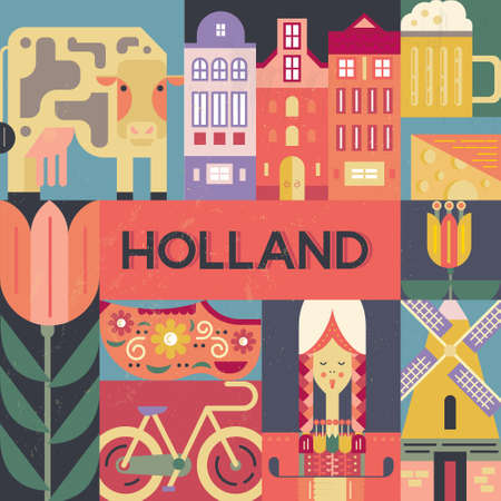 beer tulip: Conceptual illustration of Holland symbols made in modern flat style vector. Unique design for poster, tourist company flyer or banner. Visit Amsterdam design with traditional dutch symbols.