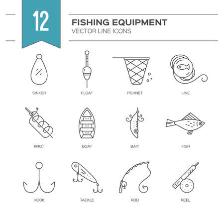floater: Fishing icons. Line style vector illustration. Icon collection. Rod, fly, bobber, tackle, hook and other gear for outdoor activity on the lake or in the ocean.Fishing equipment collection made in vector.
