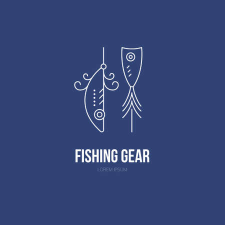 tackle: Modern illustration of a tackle - design element or label for fishing gear shop. Fishing equipment made in modern line style vector. Illustration