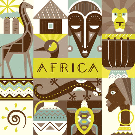 Conceptual illustration of Africa with different african symbols made in flat vector style. Travel to africa banner template. Explore the world. Traditional african symbols isolated and easy to use. African design.