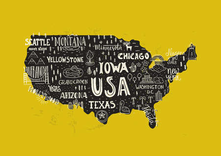 Handdrawn Illustration Of USA Map With Hand Lettering Names Of - Usa tourist map