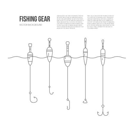 fishing gear: Vector illustration of fishing tackle - floaters and hooks. Fishing gear line series. Catching fish concept.