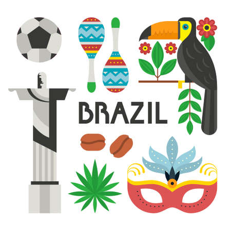 carnaval: Vector illustration with Brazil symbols - toucan, tropical flowers, nasque for carnaval, football ball. Flat style vector design elements. Illustration