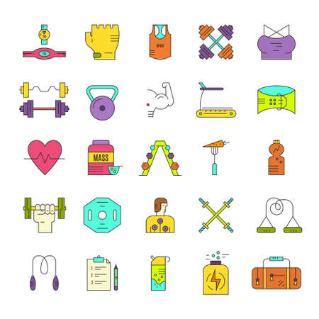 pictogramm: Modern line style collection of weightloss, active lifestyle and gym training. Vector icons. Gym training icons Illustration