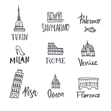turin: Vector illustration of main italian city symbols with unique lettering. All elements were drawn by hand. Italian symbols doodle illustration.