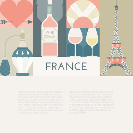 moulin: Web page or banner template with France symbols and copyspace. Modern flat style illustration with Tour Eiffel and other symbols of France. Illustration