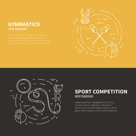 exersice: Thin line vector concept with rhythmic gymnastics equipment and elements. Great graphic for announcement, advertisement, flyer or banner. Sports and fitness vector series.