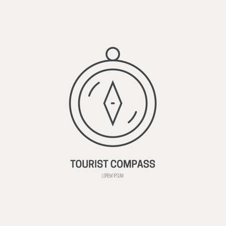 Simple illustration of a compass. Compass made in line style vector.