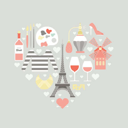 moulin: Modern flat style vector illustration with french symbols. Travel to France concept. Unique poster design with symbols of France in a heart of a shape. Illustration