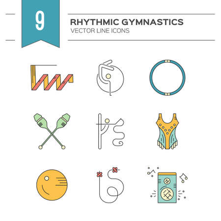 exersice: Linear style vector icon collection with different rhythmic gymnastics objects and discipline symbols. Professional sport vector. Unique and modern set isolated on background.