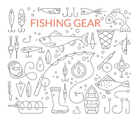 floater: Big collection of fishing gear - fishing rod, fishing tackle, fishing bobber and floater, salmon, trout, boat. Vector line style set of fishing clipart. Illustration
