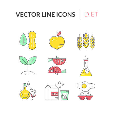 intolerance: Food intolerance icons, including gluten, seafood, lactose, soy, gmo, eggs, nuts. Food allergens. Line style vector collection.