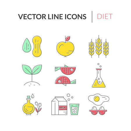 intolerancia: Iconos de intolerancia a los alimentos, incluyendo gluten, mariscos, lactosa, soja, gmo, huevos, frutos secos. Los al�rgenos alimentarios. la recogida de vectores estilo de l�nea. Vectores
