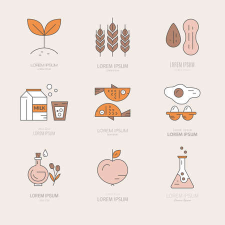 intolerance: Vegetarian, paleo, gluten free and illustrations of different diets. Food intolerance symbols.Vector line collection of modern icons. Illustration