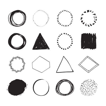 sketched shapes: Set of round handdrawn circles and other shapes for design. Unique hand sketched shapes for branding identity. Ink brush frames. Vector design. Illustration