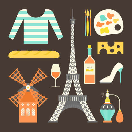 moulin: Collection of flat style vector illustrations with french symbols. Paris landmarks and other symbols of France. Illustration