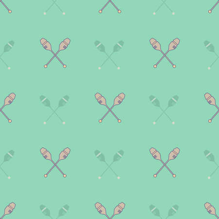 exersice: Modern seamless pattern with different rhytmic gymnastics equipment. Sports vector series. Great texture for web sites, invitations, announcements and competition background made in vector. Illustration