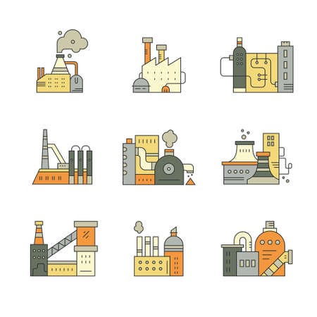 pictogramm: Factory icons Illustration
